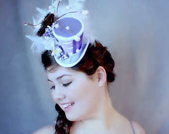 Purple Mini Top Hat, Spring Mini Hat, Mad Hatter Hat, Fascinator, Mini Hat, Top Hat, Mini Hats, Tea Party Hat, Wedding Hat, Women Top Hat
