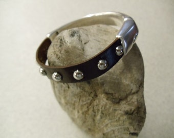Leather Brown Studded Cuff Bracelet