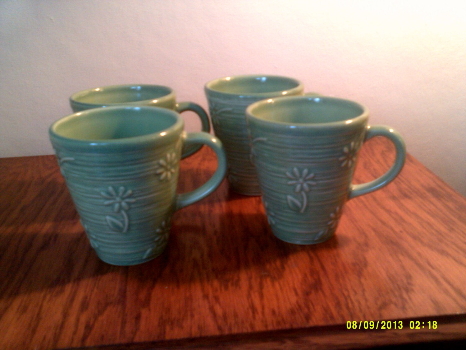 Set of four vintage phaltzgraff heavy stoneware mugs cups with for Heavy ceramic coffee mugs