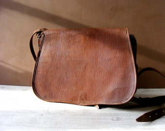 Antique French Brown Leather Messenger Bag,Work Bag.