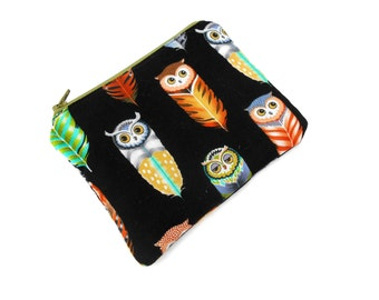 Owl Feathers Zipper Pouch - Brown Green Clutch Wallet Electronics