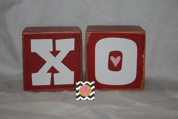 Valentine decoration/decor, love, hug and kisses wood stackable shelf sitter blocks with vinyl
