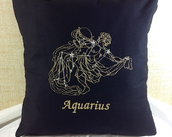 Age of Aquarius - The Water Bearer Zodiac 16 x 16 Pillow Cover, January 20 - February 18, Metallic Thread
