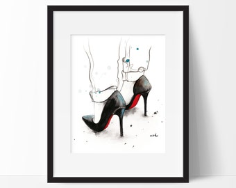 "Watercolor Illustration, Fashion Print, Watercolor Painting, Christian Louboutin Art titled ""Rainy Monday"", Shoes Fashion Illustration"