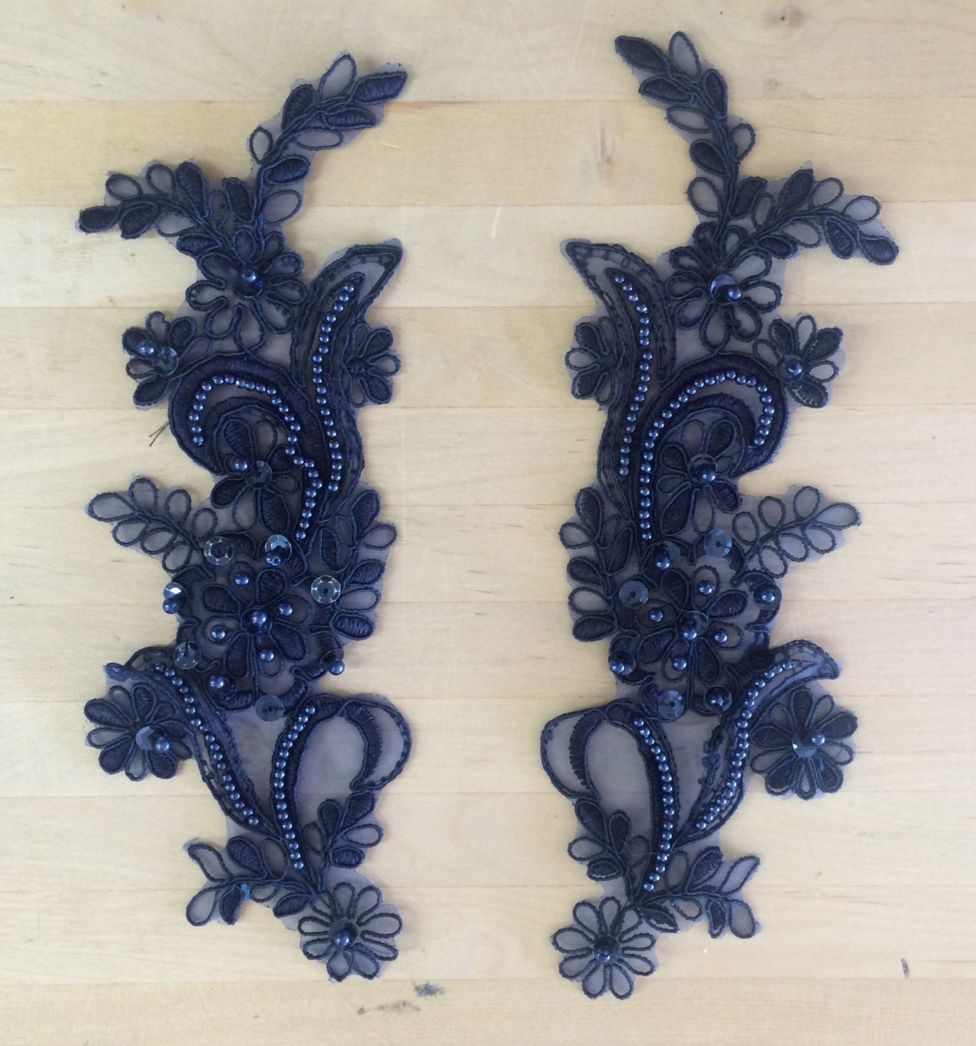navy appliques beaded appliques beaded applique lace pair. Black Bedroom Furniture Sets. Home Design Ideas