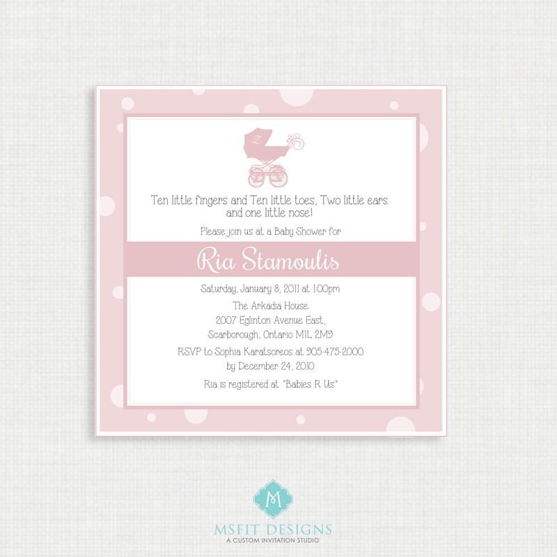 Printable Baby Shower Invitation- Girl Baby Shower Invitation ...