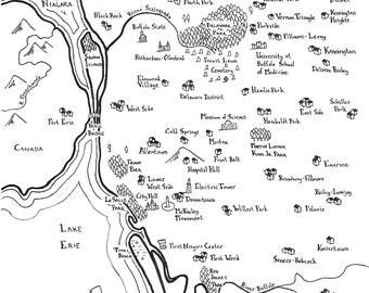 Fantasy maps of Upstate NY Cities: Buffalo, Rochester