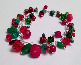 Holiday Christmas Red Green and Silver Bracelet.  8 Inches.  Silver Chain.