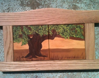 Golden Oak Tree Art Tile, Hand Painted Art Tile with Handmade Oak Craftsman Style Camel-Back Frame