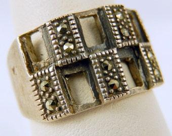 Vintage Sterling Silver Hematite Ring Size 7.75