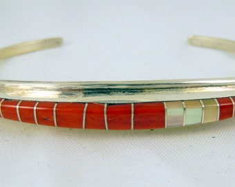 """Zuni Shell and Sterling Silver Cuff Bracelet By """"CEH"""""""