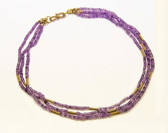 Purple Amethyst choker necklace - Purple multi strand necklace - anniversary gift