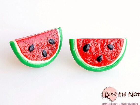 Watermelon Slices Stud Earrings, Summer Fruit Studs, Watermelon Earrings, Polymer Clay Food, Fruit Earrings, Foodie gift, Faux Food Earrings