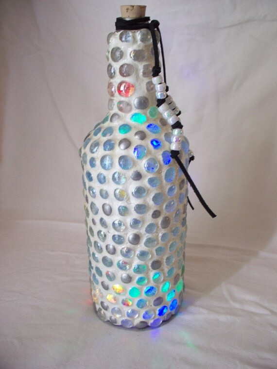 Beaded Bottle Light With Multi Colored Leds Glass Beads Grout