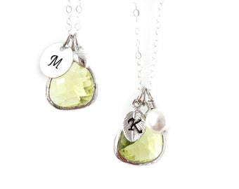 Apple Green bridesmaids necklace Customizable necklace Silver Green necklace Green Charms Necklace Personalized necklace Initial necklace