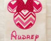 PINK Minnie Mouse Shirt for Girls, DISNEY Vacation, Chevron Fabric, Disney Font, FAMILY Trip, Gift, Birthday Party, Children, Kids, Baby
