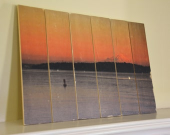 Sunset on Mount Rainier, View from the Sound, Seattle, WA - Rustic Wood Decor