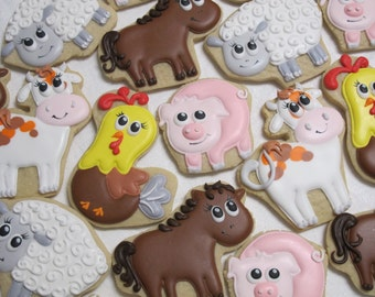 Farm Animals 15 Cookies, Farm Theme Birthday Party Favors, Animal Cookies Favors, Horse Sheep Rooster Pig Cow, Petting Zoo Custom Cookies