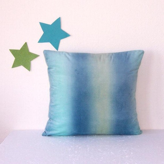 Light Blue Pillow Cover Ombre Turquoise Yellow Green Accent