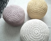 Blushy Sand Ottoman Nursery Decor - Blush Beige Ottoman Footstool Pouf - Neutral Color Crochet Floor Cushions - Eco friendly Furniture