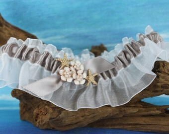 Starfish Flower Beach Bridal Garter