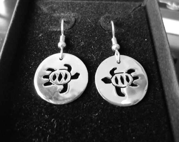 Sea turtle earrings dime size solid back