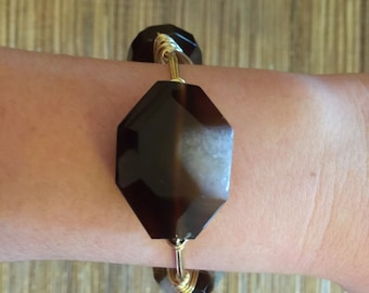 the BROWN AGATE stone bangle bracelet (tarnish resistant)