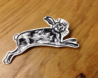 Leaping Hare - Illustrated Brooch