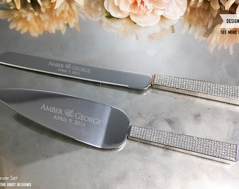 Wedding Gift Knife Set : Personalized Gold Wedding Cake Knife and Server Set 2pc