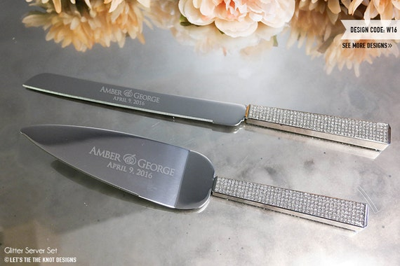 personalized glitter wedding cake knife and server set 2. Black Bedroom Furniture Sets. Home Design Ideas