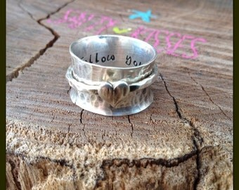 New Spinner ring fidget ring worry ring sterling silver heart spinning wide band hammered textured personalized stamped spinning jewelry