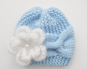 Knit Baby Girl Hat, Blue Knit Baby Cable Hat, Cable Baby Beanie, Cute Baby Hat, Light Blue Cable Baby Beanie, Girl Outfit, Hats for Girls