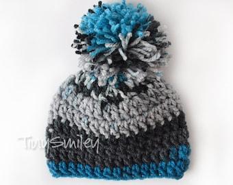Pom Pom Baby Boy Hat, Crochet Baby Pom Pom Hat, Newborn Pompom Hat, Newborn Beanie, Gray Crochet Newborn Hat