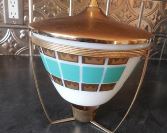 Retro Turquoise and Gold Fire King Covered Casserole...Warming Stand...Chafing  Dish Atomic!