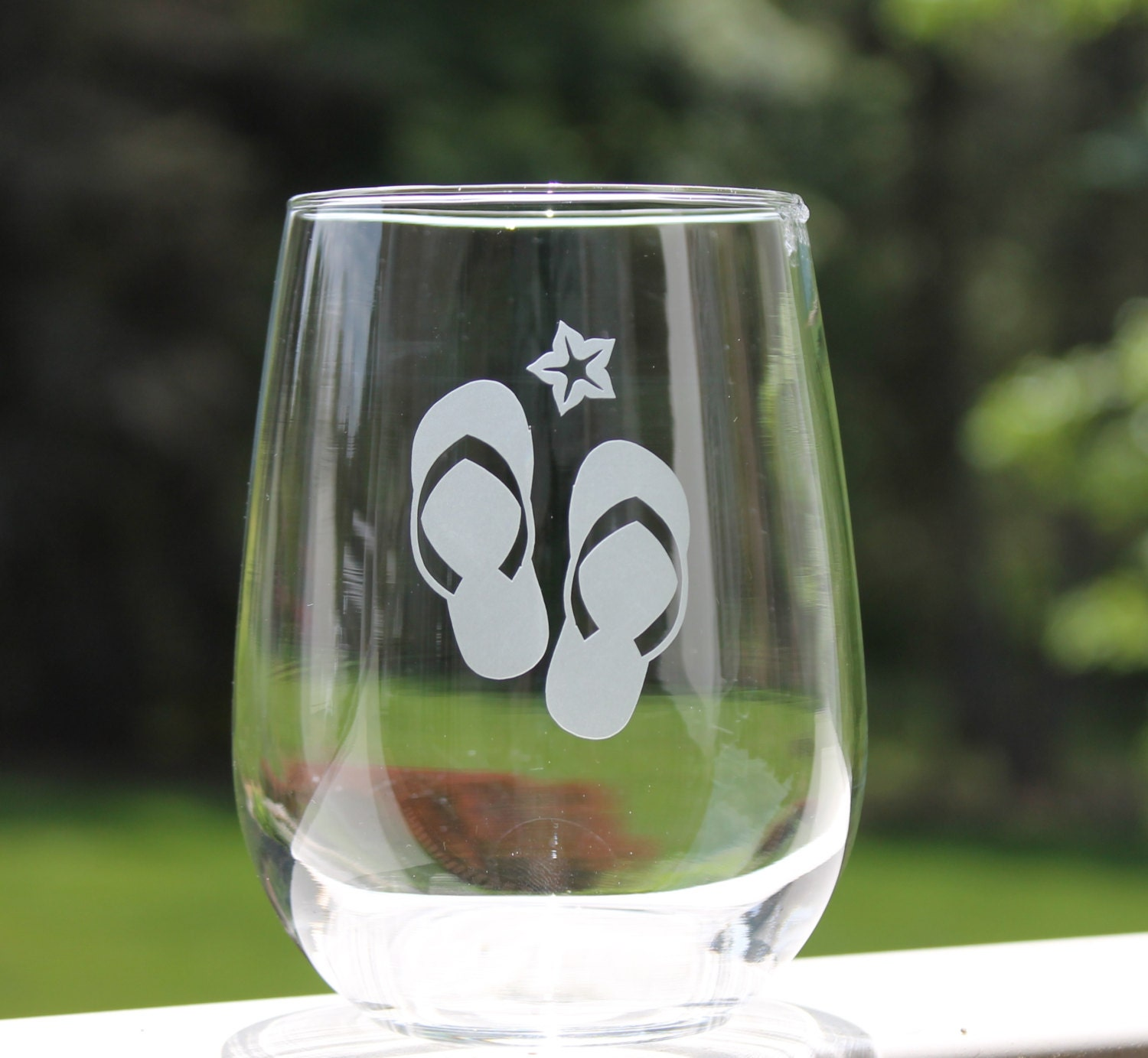 Beach Wine Glasses Etched Stemless Wine Glasses Flip Flops