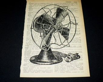 Vintage Fan Dictionary Art Print Home Decor Gallery Wall Book Page Art Retro Small Appliance