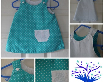 Toddler A line Reversible Dress White / Turquoise Spots 3-6 months