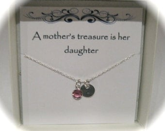 Sterling Silver Initial & Birthstone Daughter Neclace
