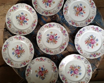 Vintage Czechoslovakia China with Floral Pattern - Set of 8