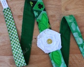 St. Patrick's Frayed Flower Headband, Boho Shabby Cotton Head Wrap, Green and White with Raveled Rose Applique