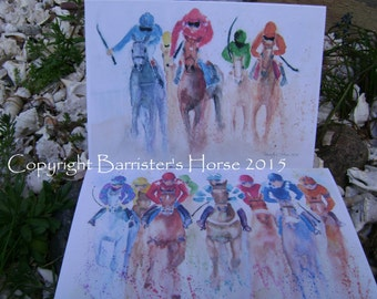 2 x Horse Racing, Watercolour Art Prints,  Greetings Cards, Blank inside, A5 size.