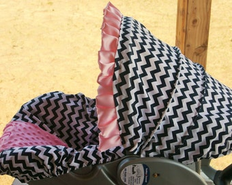 Navy blue and white chevron with baby pink minky infant car seat cover and hood cover with baby pink satin ruffle