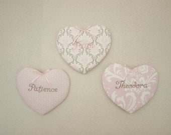 Pink, White, and Taupe Personalized Heart Shape Fabric Soft Wall Décor Set of 3