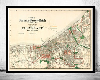 Old Map of Cleveland and suburbs 1912