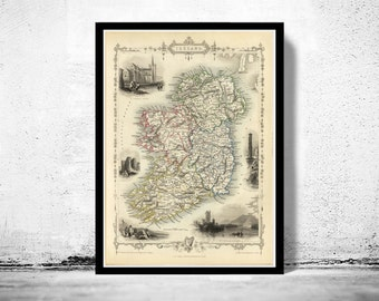 Vintage Map of Ireland 1851 Beautiful Antique map of Ireland with gravures