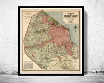 Old Map of Buenos Aires , Argentina 1909 Vintage map