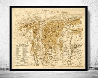 Old Map of Prague 1882  Czech Republic