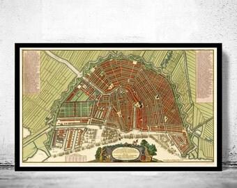 Old Vintage Map of Amsterdam, Netherlands 1735 Antique Vintage Map