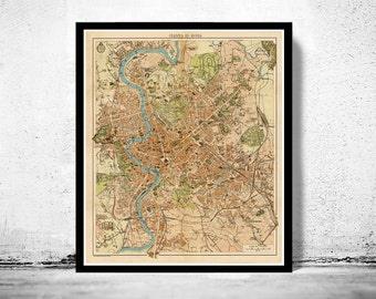 Vintage Map of Rome Roma, Italia 1930 Antique map of Rome