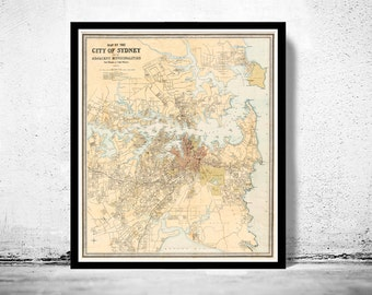 Old Map of Sydney and suburbs 1890 , Australia, New South Wales Vintage